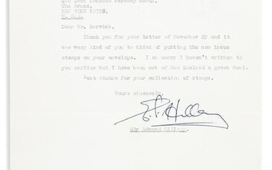 """HILLARY, EDMUND. Typed Letter Signed, """"E.P. Hillary,"""""""