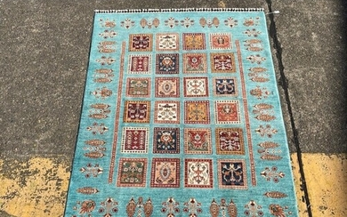 Hand knotted pure wool Afghan chobi carpet, approx 202cm x 1...