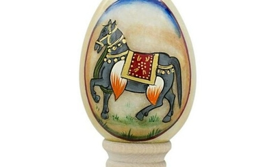 Handpainted Russian Royal Horse Marble Egg