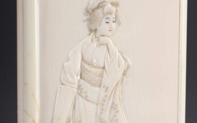 "Ivory case with finely carved relief ""Geisha"", signed, probably Japan..."