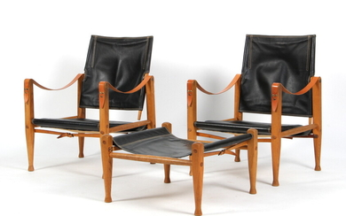 Kaare Klint A pair of safari chairs with an accompanying footstool. (3)