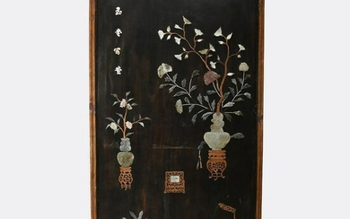 Large Hardstone-Inlaid Lacquer Wall Panel.