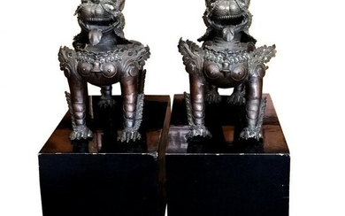 Lg Chinese Antique Qing Bronze Foo Dogs