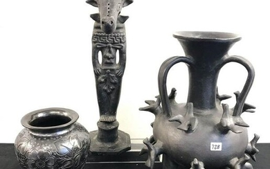 MCM Group of Pit-Fired Mexican Figural Pottery