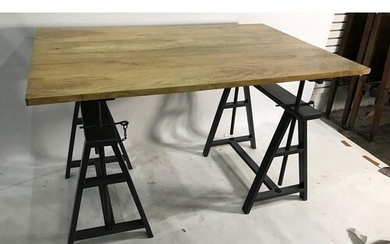 Modern dining table, the rectangular wooden top in a part sp...