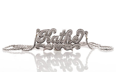 NECKLACE with INTEGRATED PENDANT, 14K white gold, diamonds 0. 8 ct, Italy.