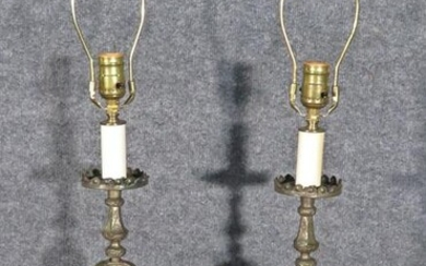 PAIR FRENCH BAROQUE METAL TABLE LAMPS