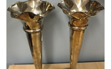 PAIR OF ANTIQUE SILVER VASES WITH WEIGHTED BASES - SHEFFIELD...