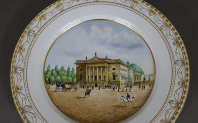 """PLATE with a view of the BERLIN STATE OPERA - KPM Berlin, form """"Kurland""""."""