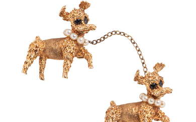 Pair of 14kt Gold Poodle Brooches