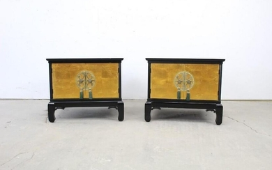 Pair of Asian High Style End Tables,Hollywood Regency