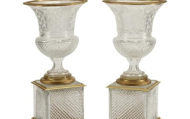 Pair of Baccarat Style Cut Glass Urns with Dore Bronze