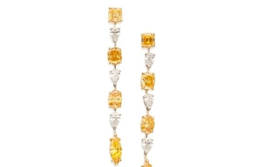 Pair of Diamond and Fancy-Colored Diamond Earrings