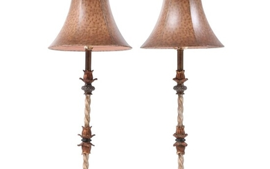 Pair of Patinated Metal, Parcel Gilt and Faux Marble Composite Table Lamps