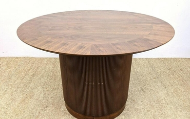 Pedestal Base Banded Dining Table. Round Walnut Top wit