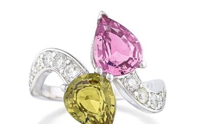 Pink and Green Sapphire Bypass Ring