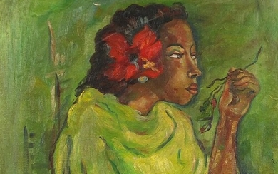 Portrait of an African lady holding flowers, oil on canvas, ...