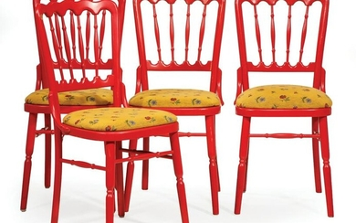 Red Painted Bistro Chairs