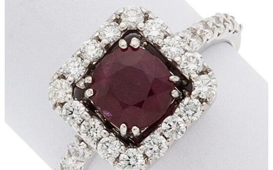 Ruby, Diamond, White Gold Ring The ring features an...