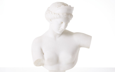 SCULPTURE, 20th century, bust in the form of an antiquating woman, marble mass.