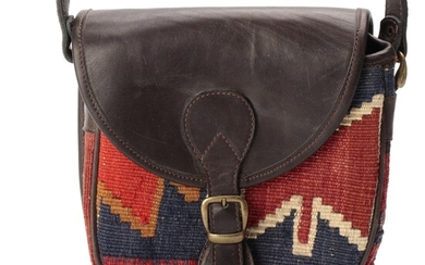 Sao Flap Front Crossbody Bag in Brown Leather and Woven Kilim Style Textile