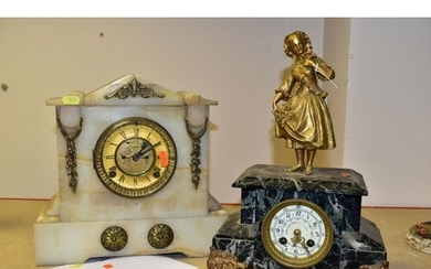 TWO LATE 19TH CENTURY/EARLY 20TH CENTURY MANTEL CLOCKS, comp...