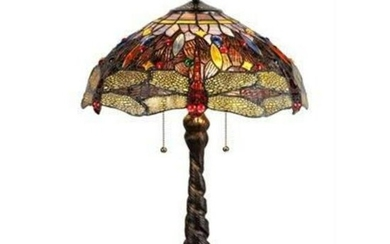 Tiffany Style 2-Light Dragonfly Stained Art Glass Lamp