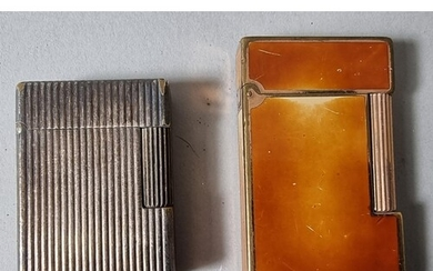 Two Dupont lighters, one ribbed and the other enamel (2).