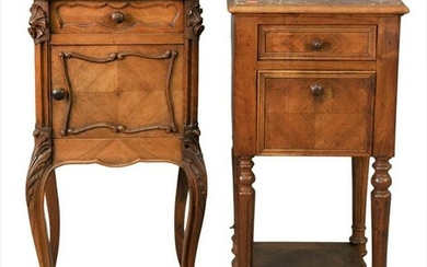 Two Louis XV Style Tables, each having brown marble