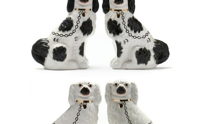 Two Pairs Antique Staffordshire Mantel Spaniels