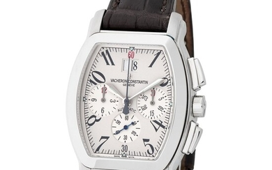 Vacheron Constantin. Valuable and Special Royal Eagle Chronograph Automatic Wristwatch in Steel, Reference 49 145, With Box, Papers and Booklets