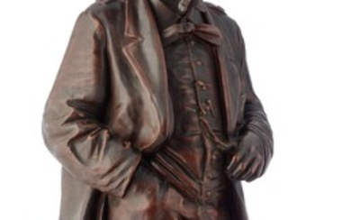Victor Emmanuel II of Italy, patinated terracotta, H 132 - 202 cm