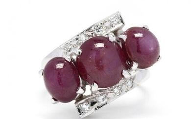 White Gold, Diamond, and Star Ruby Ring