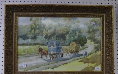 William Arnold, mid 20thC Watercolour, depicting two gypsy c...