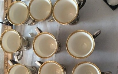 12 International Sterling Silver And Lenox Cups Demi