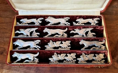 12 Porte Couteaux Animaliers - Silver metal knife holder 1920 - 1949 (12)