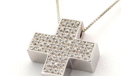 18 kt. White gold - Necklace with pendant - 0.45 ct Diamonds