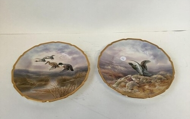 2 fine quality Royal Doulton hand painted plates with gilded...