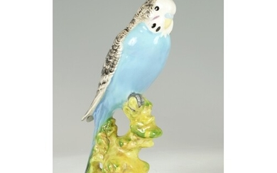 A BESWICK CERAMIC MODEL OF A PERCHED BUDGIE impressed marks ...