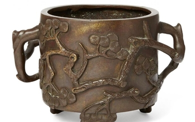 A Chinese bronze 'Three Friends of Winter' censer, 18th/ 19thcentury, cast in relief with bamboo, pine and prunus, raised on three feet of pine, bamboo and blossom, handles formed of applied branches, 10cm high