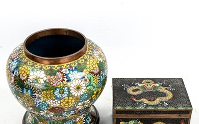 A Chinese cloisonne enamel baluster vase, with brightly colo...