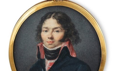 A French oval miniature on ivory representing a young officer, Christophe Guérin, circa 1800 | Miniature ovale sur ivoire représentant un jeune officier, Christophe Guérin, France, vers 1800