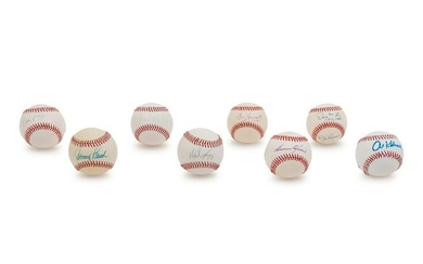 A Group of Nine Baseball Hall of Fame and Notables
