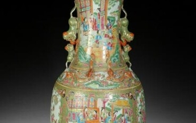 A LARGE CHINESE CANTON 'FAMILLE ROSE' FIGURES VASE