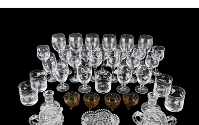 A LARGE COLLECTION OF MODERN DUISKE ETCHED DRINKING GLASSES,...