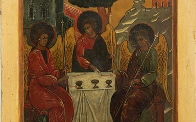 A LARGE ICON SHOWING THE OLD TESTAMENT TRINITY