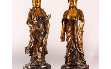 A LARGE PAIR OF CHINESE GILT BRONZE FIGURES OF DEITYS - one ...