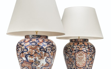 A PAIR OF JAPANESE IMARI LARGE VASES, MOUNTED AS LAMPS