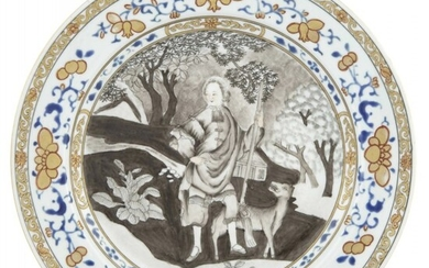 A Rare Chinese Grisaille and Parcel Gilt Decorated 'Burghley House' Porcelain Plate