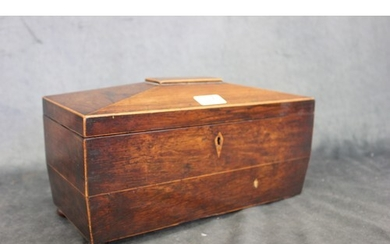 A Regency rosewood sarcophagus shaped tea-caddy, with part f...